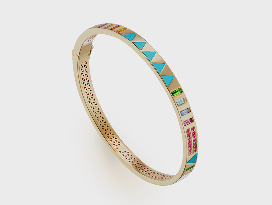 Harwell Godfrey JuJu bangle with triangle inlay in 18K gold, available in four different colorways.