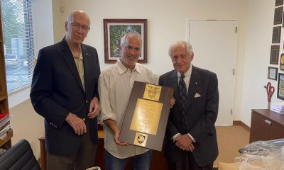 Pictured here, L to R: John Denton (West Point Class of 1960, US Army, Retired) presenting the plaque to Andrew Kaplan, Vice President Sales, and Mike Kaplan, President, Rocket Box.