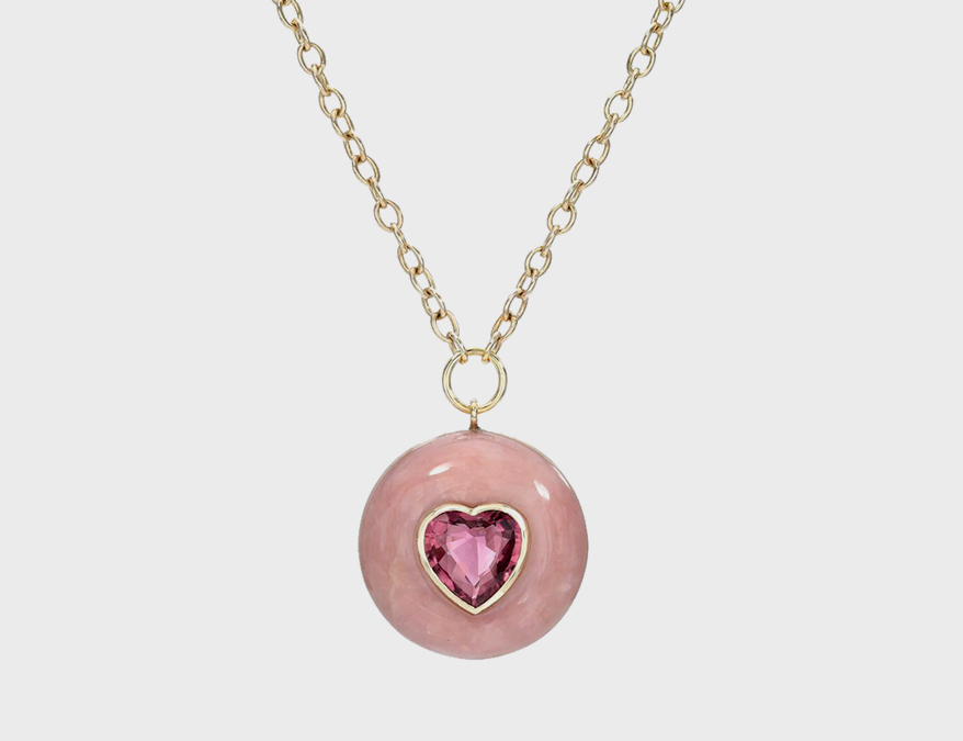 Retrouvai 14K gold Lollipop pendant with pink heart set into pink opal.