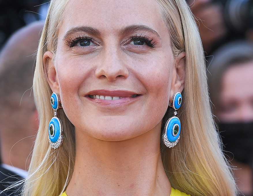 Poppy Delevingne at the 2021 Cannes Film Festival in Chopard earrings. Photo courtesy of Shutterstock.