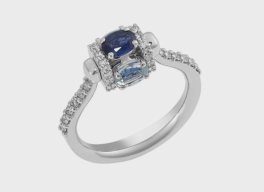 Miseno 18K white gold ring with sapphires, diamonds and rotating element.
