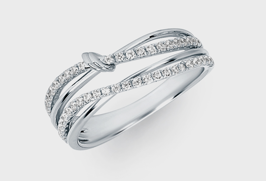 Ostbye 14K white gold ring with diamonds.